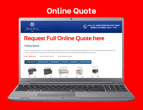 Online Removal Quote, showing laptop and quote system